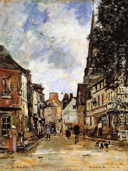 Fervaques, a Village Street by Eugène Boudin - Reproduction Oil Painting