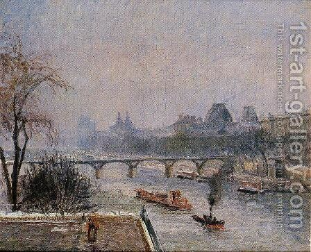 The Louvre - Morning, Snow Effect by Camille Pissarro - Reproduction Oil Painting