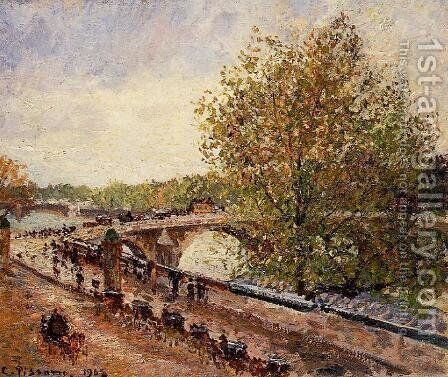 The Pont Royal - Grey Weather, Afternoon, Spring by Camille Pissarro - Reproduction Oil Painting