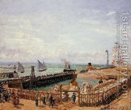 The Jetty, Le Havre - High Tide, Morning Sun by Camille Pissarro - Reproduction Oil Painting