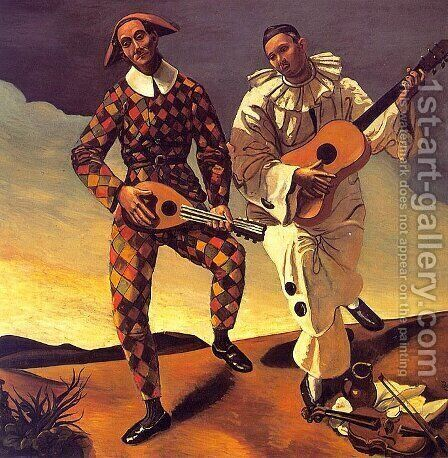 Harlequin and Pierrot by Andre Derain - Reproduction Oil Painting
