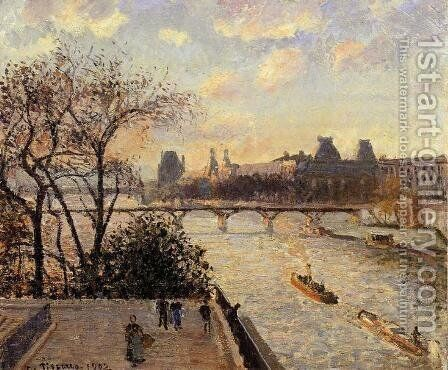 The Louvre and the Seine from the Pont-Neuf by Camille Pissarro - Reproduction Oil Painting