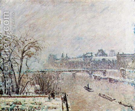 The Seine Viewed from the Pont-Neuf, Winter by Camille Pissarro - Reproduction Oil Painting