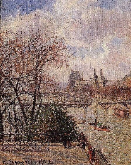 The Louvre, Gray Weather, Afternoon by Camille Pissarro - Reproduction Oil Painting