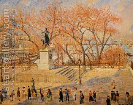 Square du Vert-Galant: Sunny Morning by Camille Pissarro - Reproduction Oil Painting