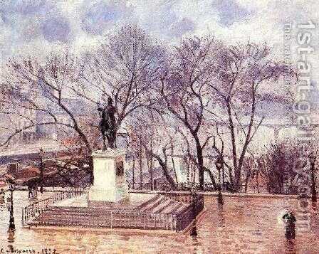 The Raised Terrace of the Pont-Neuf, Place Henri IV: Afternoon, Rain by Camille Pissarro - Reproduction Oil Painting