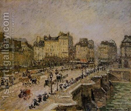 The Pont-Neuf: Snow by Camille Pissarro - Reproduction Oil Painting