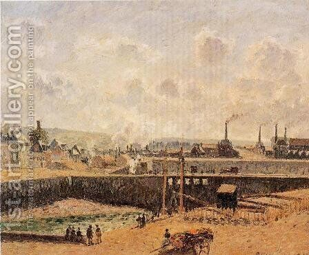 Dieppe, Dunquesne Basin, Low Tide, Sun, Morning by Camille Pissarro - Reproduction Oil Painting