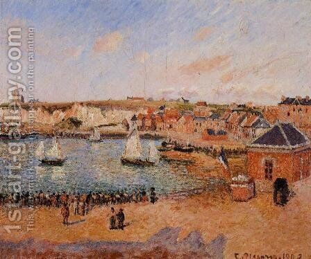 The Inner Harbor, Dieppe: Afternoon, Sun, Low Tide by Camille Pissarro - Reproduction Oil Painting