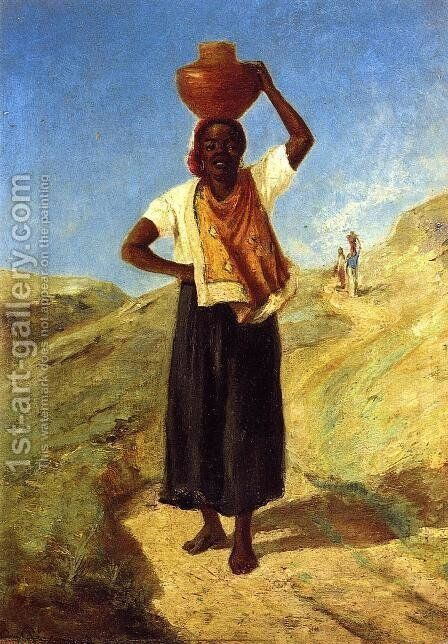 Woman Carrying a Pitcher on Her Head by Camille Pissarro - Reproduction Oil Painting