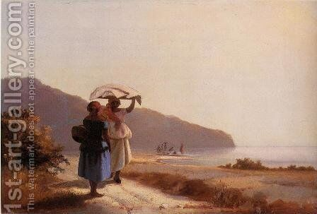 Two Woman Chatting by the Sea, St. Thomas by Camille Pissarro - Reproduction Oil Painting