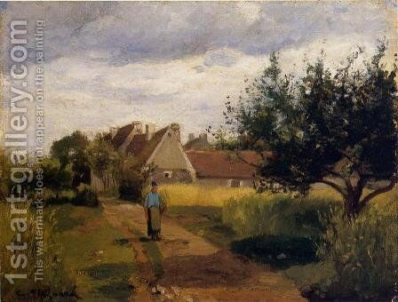 Entering a Village by Camille Pissarro - Reproduction Oil Painting