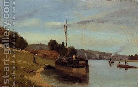Barges at Le Roche Guyon by Camille Pissarro - Reproduction Oil Painting