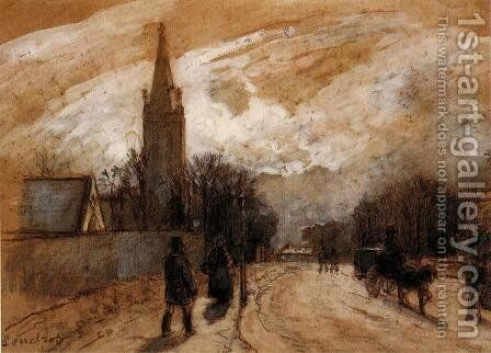 Study for 'All Saints' Church, Upper Norwood' by Camille Pissarro - Reproduction Oil Painting