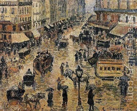 Place du Havre, Paris; Rain by Camille Pissarro - Reproduction Oil Painting