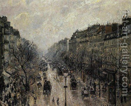 Boulevard Montmartre: Foggy Morning by Camille Pissarro - Reproduction Oil Painting