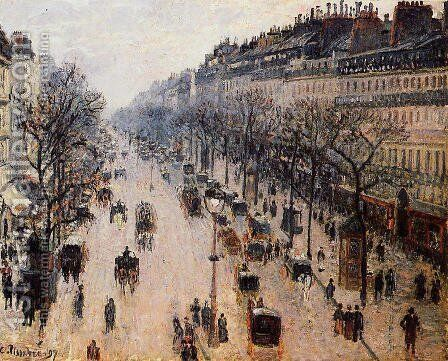 Boulevard Montmartre: Winter Morning by Camille Pissarro - Reproduction Oil Painting