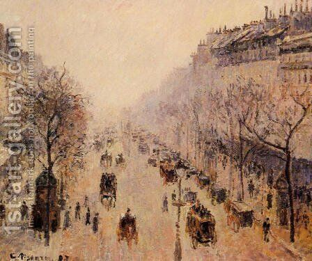 Boulevard Montmartre: Morning, Sunlight and Mist by Camille Pissarro - Reproduction Oil Painting