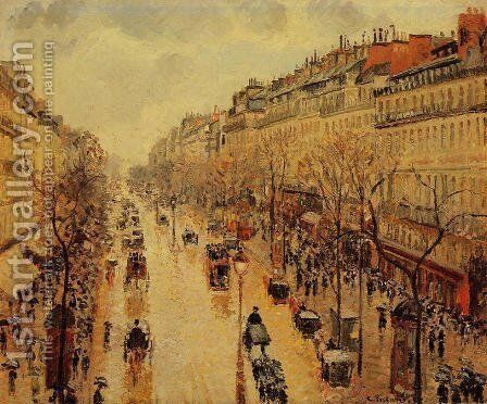 Boulevard Montmartre: Afternoon, in the Rain by Camille Pissarro - Reproduction Oil Painting