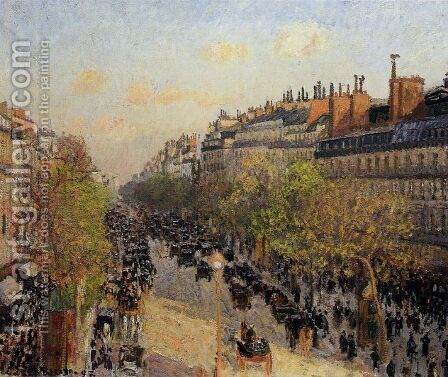 Boulevard Montmartre: Sunset by Camille Pissarro - Reproduction Oil Painting
