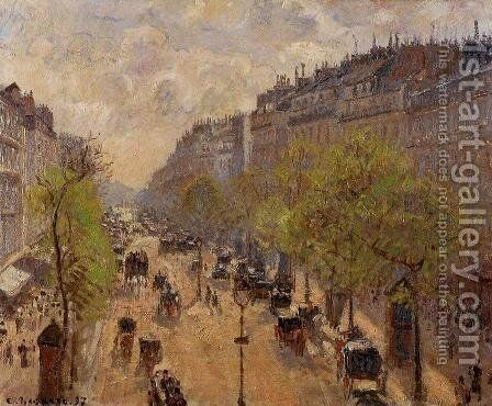 Boulevard Montmartre: Spring I by Camille Pissarro - Reproduction Oil Painting