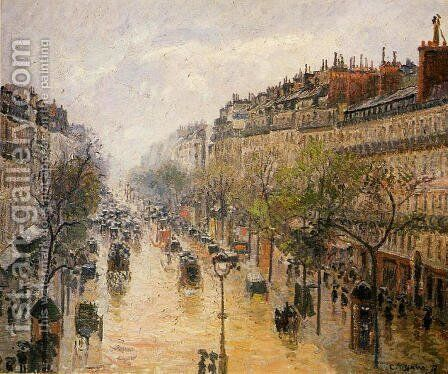 Boulevard Montmartre: Spring Rain by Camille Pissarro - Reproduction Oil Painting