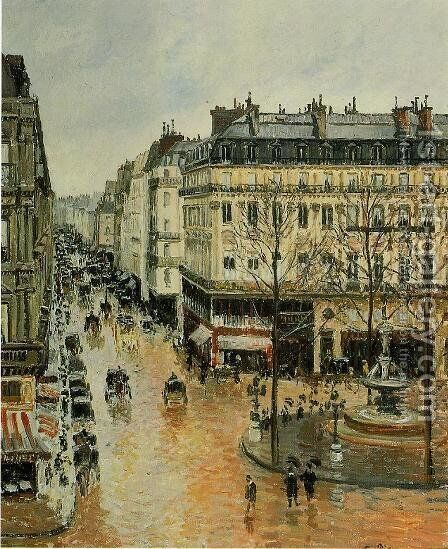 Rue Saint-Honore: Afternoon, Rain Effect by Camille Pissarro - Reproduction Oil Painting
