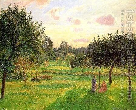 Two Women in a Meadow: Sunset at Eragny by Camille Pissarro - Reproduction Oil Painting