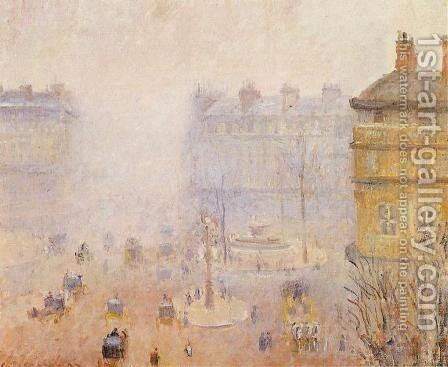Place du Theatre Francais: Foggy Weather by Camille Pissarro - Reproduction Oil Painting