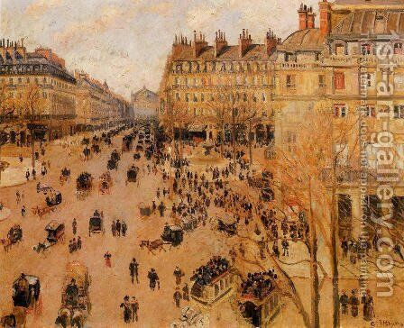 Place du Thretre Francais: Sun Effect by Camille Pissarro - Reproduction Oil Painting
