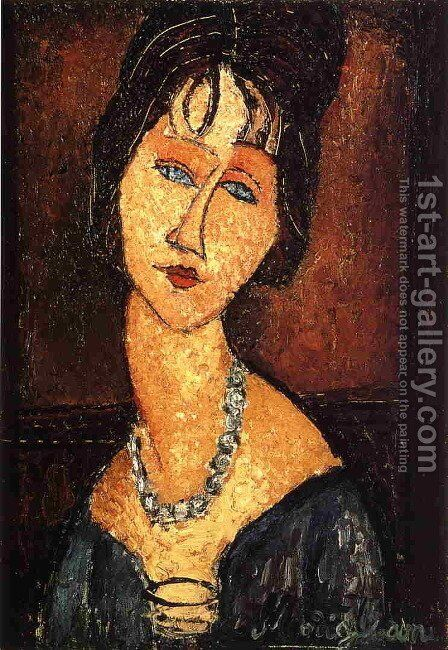 Jeanne Hebuterne with Necklace by Amedeo Modigliani - Reproduction Oil Painting