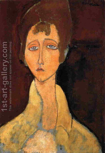 Woman in White Coat by Amedeo Modigliani - Reproduction Oil Painting