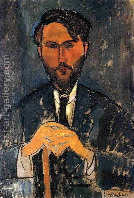 Leopold Zborowski with Cane by Amedeo Modigliani - Reproduction Oil Painting