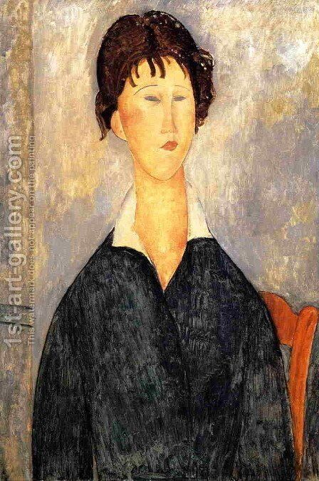 Portrait of a Woman with a White Collar by Amedeo Modigliani - Reproduction Oil Painting