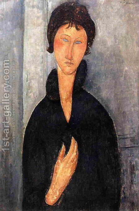 Woman with Blue Eyes by Amedeo Modigliani - Reproduction Oil Painting