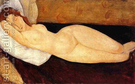 Reclining Nude, Head Resting on Right Arm by Amedeo Modigliani - Reproduction Oil Painting