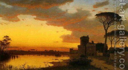 Castle at Ostia, Lazio, Italy by William Stanley Haseltine - Reproduction Oil Painting
