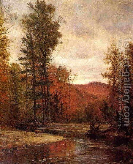 Adirondack Woodland with Two Deer by Thomas Worthington Whittredge - Reproduction Oil Painting