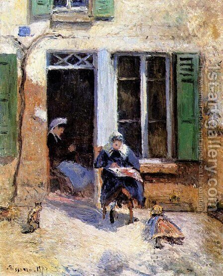 Woman and Child Doing Needlework by Camille Pissarro - Reproduction Oil Painting