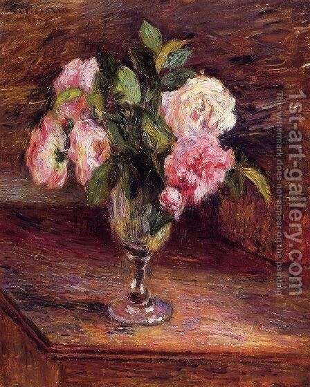 Roses in a Glass by Camille Pissarro - Reproduction Oil Painting