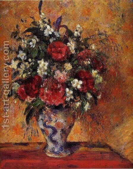 Vase of Flowers by Camille Pissarro - Reproduction Oil Painting