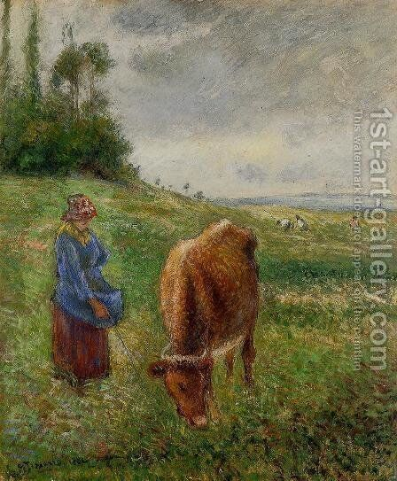 Cowherd, Pontoise by Camille Pissarro - Reproduction Oil Painting