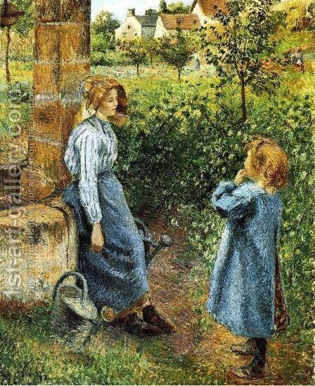 Young Woman and Child at the Well by Camille Pissarro - Reproduction Oil Painting