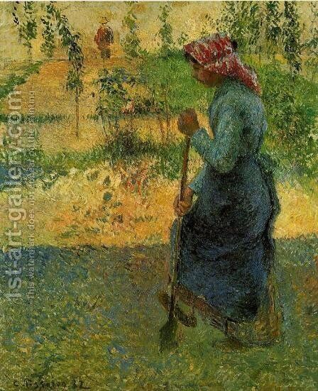 Study of a Peasant in Open Air by Camille Pissarro - Reproduction Oil Painting