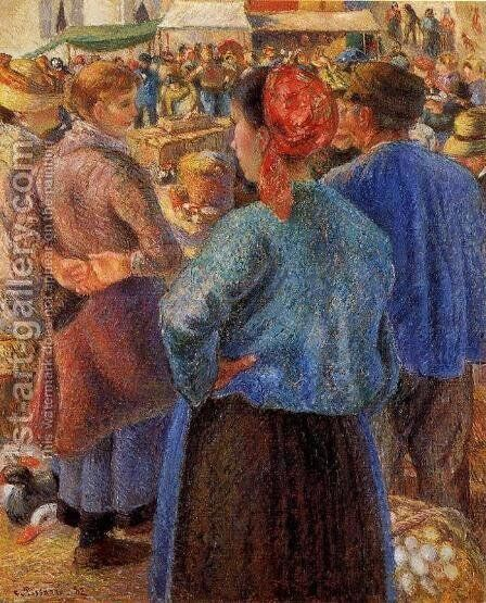 The Poultry Market at Pontoise by Camille Pissarro - Reproduction Oil Painting