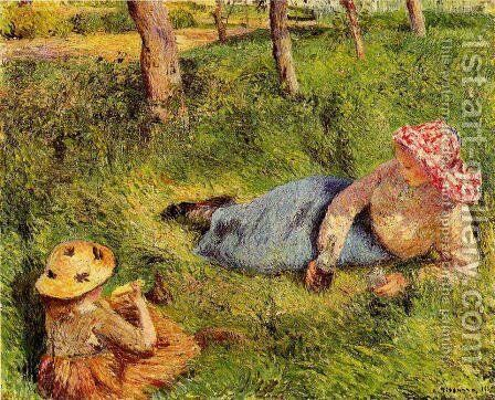 The Snack, Child and Young peasant at Rest by Camille Pissarro - Reproduction Oil Painting