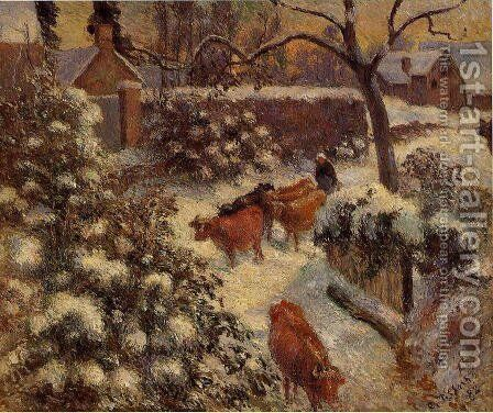 Snow Effect in Montfoucault by Camille Pissarro - Reproduction Oil Painting