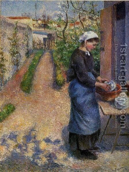 Young Woman Washing Plates by Camille Pissarro - Reproduction Oil Painting
