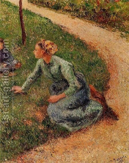Peasant Trimming the Lawn by Camille Pissarro - Reproduction Oil Painting