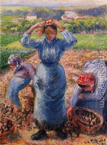 Peasants Harvesting Potatoes by Camille Pissarro - Reproduction Oil Painting
